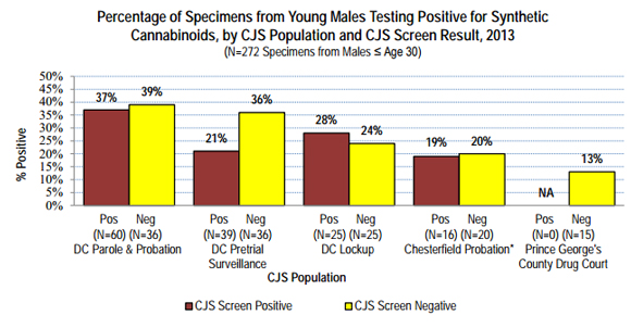 Percentage of Specimens from Young Males Testing Positive for Synthetic  Cannabinoids, by CJS Population and CJS Screen Result, 2013