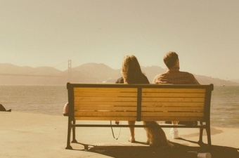 couple on bench leaving him due to spice addiction